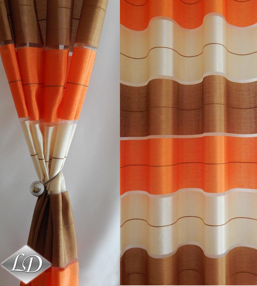 wohnzimmer orange braun:Vorhang Zwei Ösenvorhänge SET für ein Fenster GDV Halbtransparent