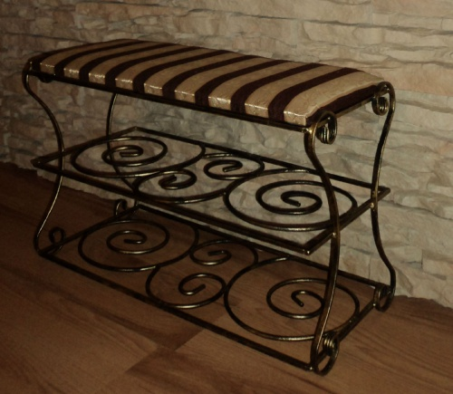 schuhregal sitzbank schuhschrank schuhst nder kathrin ka01 edel antik metall top ebay. Black Bedroom Furniture Sets. Home Design Ideas
